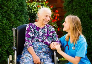 caring for elderly woman